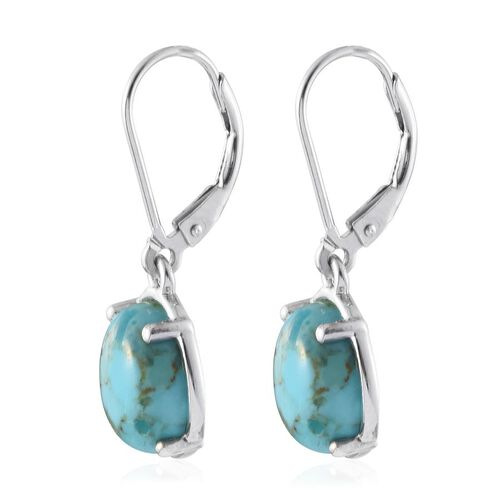 Arizona Matrix Turquoise (Ovl) Lever Back Earrings in Platinum Overlay Sterling Silver 5.250 Ct.