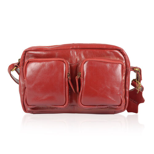 100% Genuine Leather RFID Blocker Red Colour Shoulder Bag (Size 27X17X4 Cm)