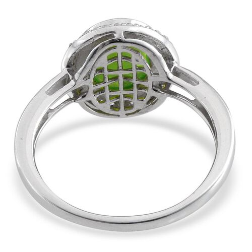 Green Ethiopian Opal (Ovl 1.00 Ct), Natural Cambodian Zircon Ring in Platinum Overlay Sterling Silver 1.250 Ct.