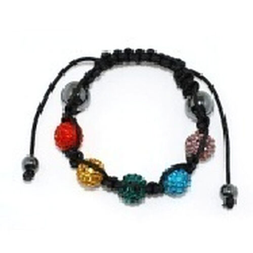 Rainbow Multi Colour Austrian Crystal and Hematite Bracelet (Adjustable)