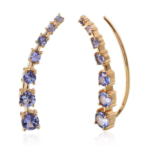 Tanzanite (Rnd) Climber Earrings in 14K Gold Overlay Sterling Silver 2.000 Ct.