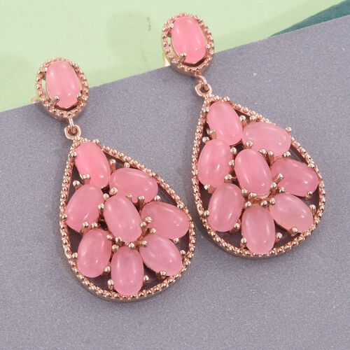 Pink Jade (Ovl) Earrings (with Push Back) in Rose Gold Overlay Sterling Silver 11.250 Ct.