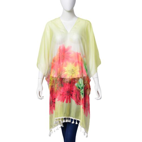 Red, Yellow and Multi Colour Floral Pattern Poncho with Tassels (Free Size)