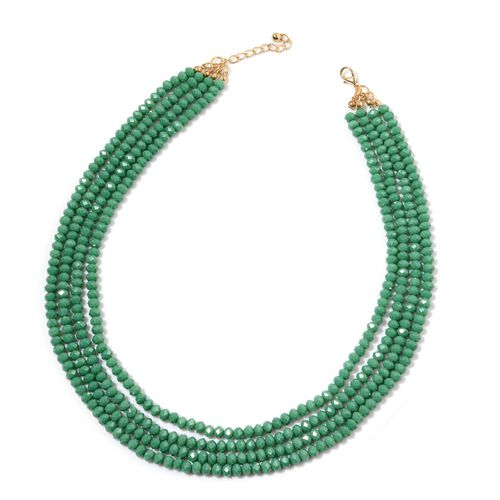 Simulated Emerald Necklace (Size 20) in Gold Tone