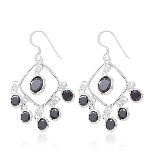 ELANZA AAA Simulated Black Spinel (Rnd) Hook Earrings in Sterling Silver, Silver wt 4.60 Gms.