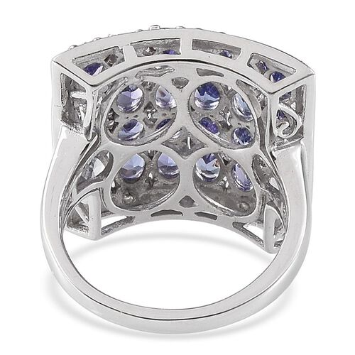 Tanzanite (Ovl), Diamond Cluster Ring in Platinum Overlay Sterling Silver 3.520 Ct.