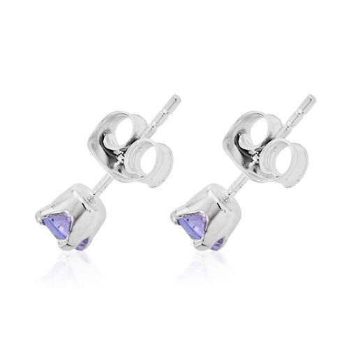 Tanzanite 0.50 Carat Silver Solitaire Stud Earring in Platinum Overlay
