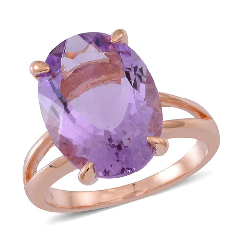 Rose De France Amethyst (Ovl) Solitaire Ring in 14K Rose Gold Overlay Sterling Silver 10.000 Ct.