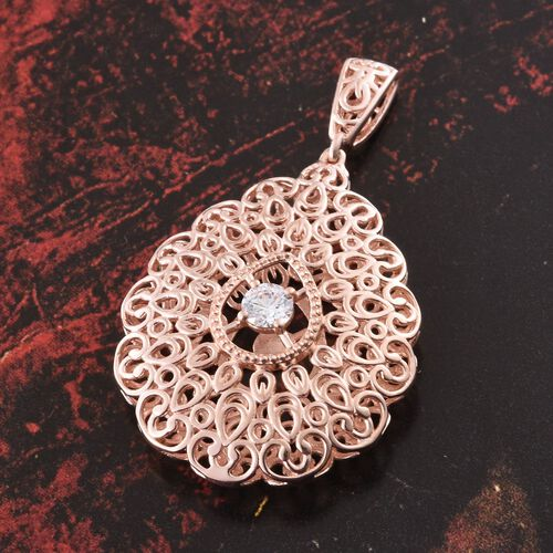 Designer Inspired J Francis - Rose Gold Overlay Sterling Silver (Rnd) Pendant Made with SWAROVSKI ZIRCONIA