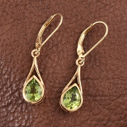 AA Hebei Peridot (Pear) Lever Back Earrings in 14K Gold Overlay Sterling Silver 2.500 Ct.