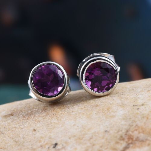 Rare Mozambique Grape Colour Garnet (Rnd) Stud Earrings (with Push Back) in Platinum Overlay Sterling Silver 1.000 Ct.