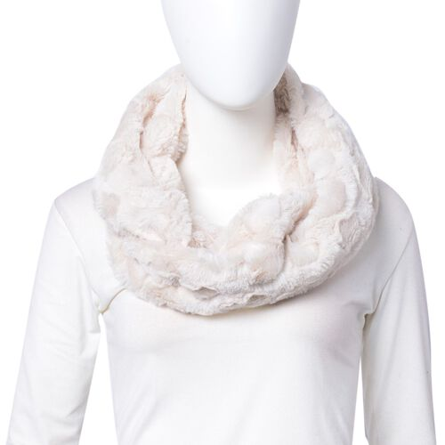 Designer Inspired- Cream Colour Heart Pattern Faux Fur Infinity Scarf (Size 80X20 Cm)