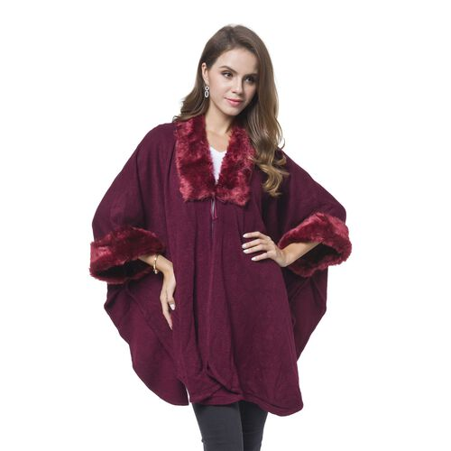Designer Inspired - Wine Red Faux Fur Cape (Free Size)