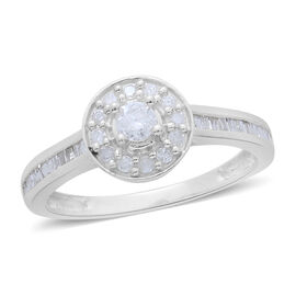 9K White Gold 0.50 Carat Diamond Halo Ring SGL Certified I3 G-H