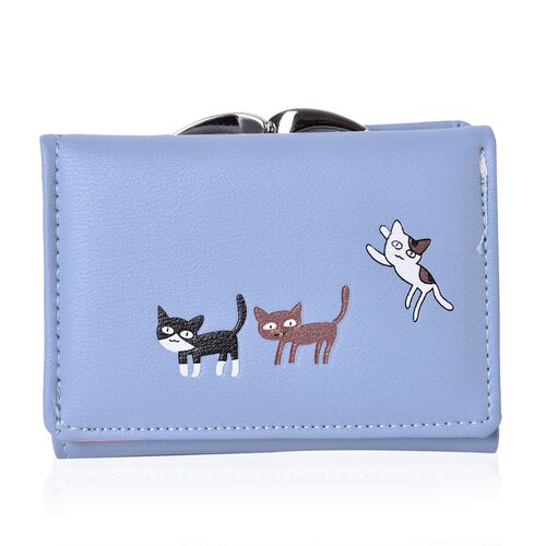 Light Blue and Multi Colour Kitty Pattern Ladies Wallet with Multiple Card Slots (Size 11x8.5 Cm)