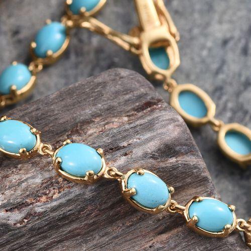 Arizona Sleeping Beauty Turquoise (Ovl) Bracelet (Size 7) in 14K Gold Overlay Sterling Silver 9.250 Ct.