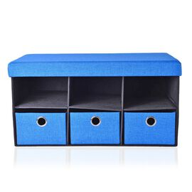 Blue and Black Colour Foldable Ottoman with Dividers and 3 Pcs Drawers (Size 74x35x35 Cm)