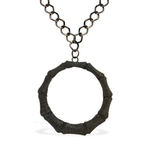 Circle Necklace (Size 20) and Hook Earrings in Black Tone