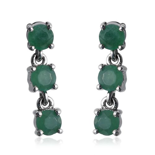 RHAPSODY 950 Platinum Kagem Zambian Emerald (Rnd) Earrings (with Screw Back) 1.000 Ct.