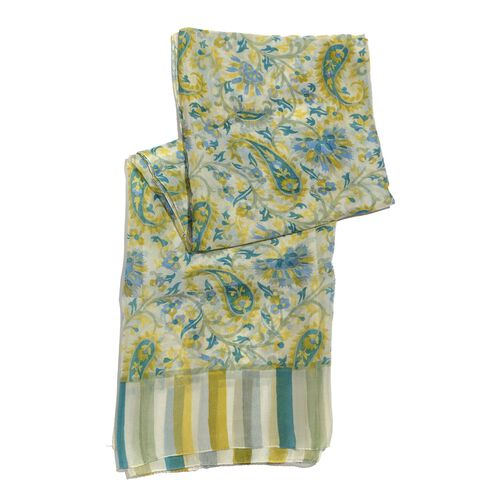 100% Mulberry Silk Yellow and Multi Colour Floral and Paisley Pattern Off White Colour Scarf (Size 175x110 Cm)