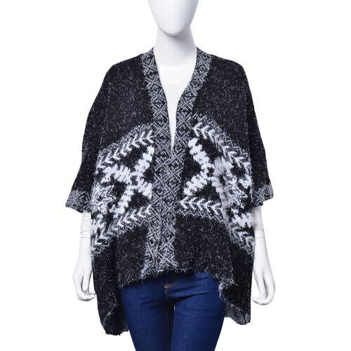 Winter Special - Black and White Colour Ruana (Size 95x65 Cm)
