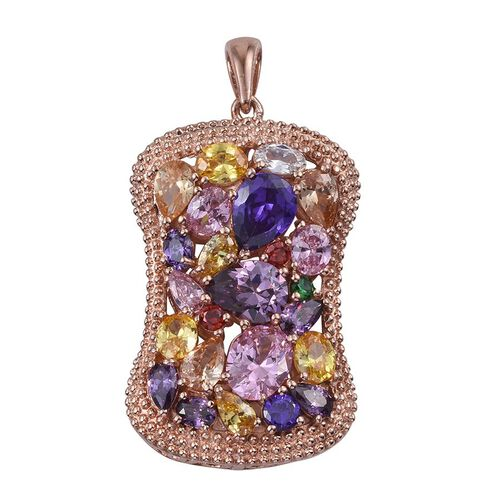 AAA Simulated Pink Sapphire (Ovl), Simulated Tanzanite, Simulated Amethyst, Simulated Citrine, Simulated Emerald, Simulated Garnet and Multi Gem Stone Pendant in ION Plated 18K Rose Gold Bond
