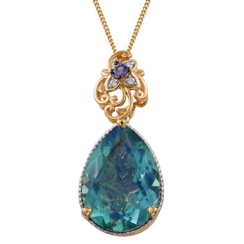 GP Peacock Quartz (Pear), Tanzanite, Natural Cambodian Zircon and Kanchanaburi Blue Sapphire Pendant with Chain in 14K Gold Overlay Sterling Silver 11.750 Ct.