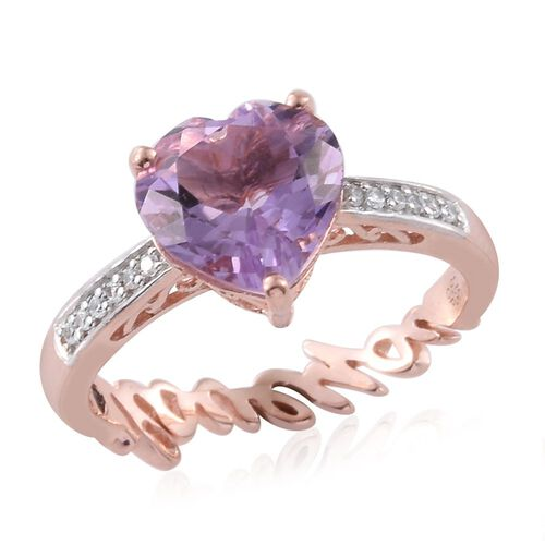 GP Rose De France Amethyst (Hrt 3.10 Ct), Kanchanaburi Blue Sapphire and Natural Cambodian Zircon Ring in Rose Gold Overlay Sterling Silver 3.250 Ct.