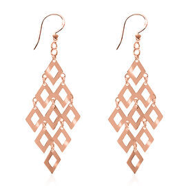 Vicenza Collection - Designer Inspired Rose Gold Overlay Sterling Silver Hook Earrings, Silver wt 4.21 Gms.