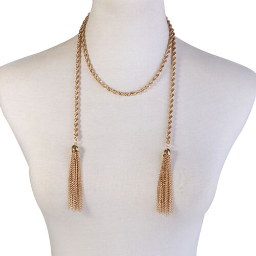 Rope Necklace (Size 38) and Hook Earrings in Gold Tone