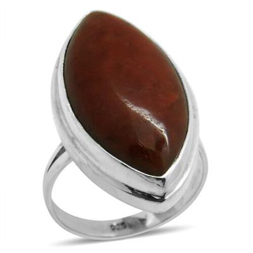 Royal Bali Collection Red Jade (Mrq) Solitaire Ring in Sterling Silver 24.010 Ct.
