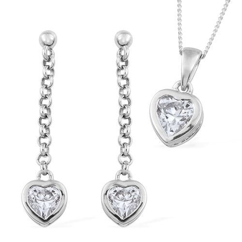 J Francis - Platinum  Plated Silver Heart Solitaire Pendant with Chain and Dangling Earrings Set (with Push Back) Made with SWAROVSKI ZIRCONIA
