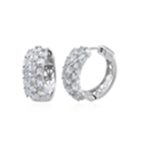Natural Cambodian Zircon (Ovl) Hoop Earrings (with Clasp Lock) in Rhodium Plated Sterling Silver 4.080 Ct. Silver wt 8.70 Gms.