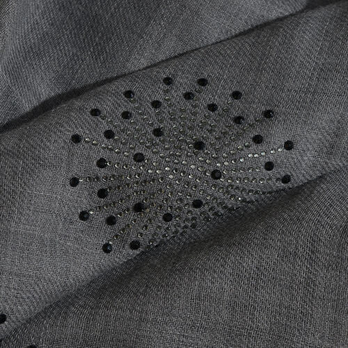 One Time Deal-Dark Grey Colour New Zealand Super Fine Merino Wool and Silk Scarf with Hand stitched sequin work (Size 190x70 Cm)