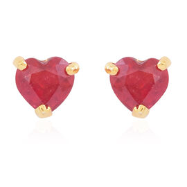 AA African Ruby (Hrt) Stud Earrings (with Push Back) in 14K Gold Overlay Sterling Silver 2.000 Ct.
