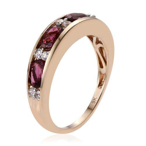 9K Y Gold Ouro Fino Rubelite (Ovl), Natural Cambodian Zircon Half Eternity Band Ring 2.150 Ct.