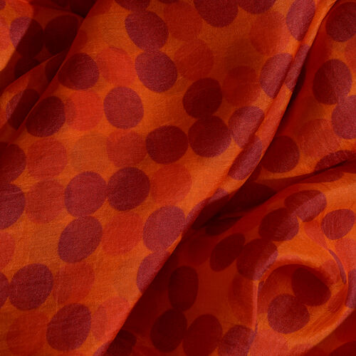 100% Mulberry Silk Maroon and Red Colour Polka Dots Pattern Black and Orange Colour Digital Printed Scarf (Size 180x100 Cm)