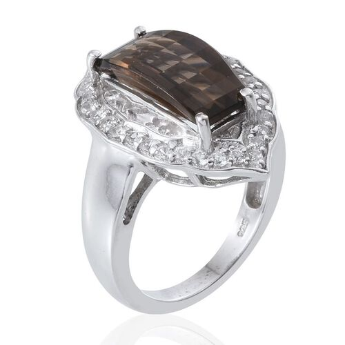 Brazilian Smoky Quartz and White Topaz Ring in Platinum Overlay Sterling Silver 5.750 Ct.