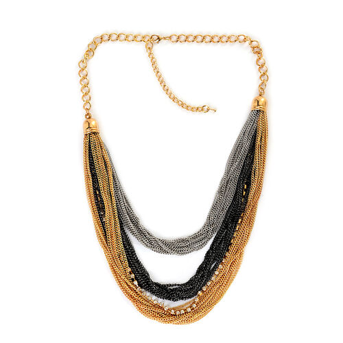 ION Plated Yellow Gold, Black and Silvertone Necklace (Size 20) with White Austrian Crystal