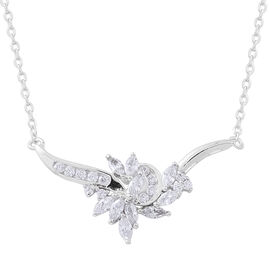 ELANZA AAA Simulated White Diamond (Mrq) Necklace (Size 18 with 1 inch Extender) in Rhodium Plated Sterling Silver