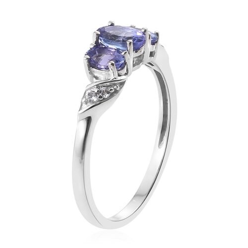 1.15 Ct Tanzanite, Natural Cambodian Zircon Silver Ring in Platinum Overlay