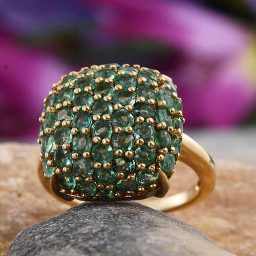 Kagem Zambian Emerald (Rnd) Cluster Ring in 14K Gold Overlay Sterling Silver 2.750 Ct.
