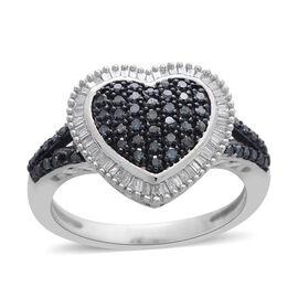 Blue Diamond (Rnd), White Diamond Heart Ring in Black Rhodium and Platinum Overlay Sterling Silver 0.500 Ct.