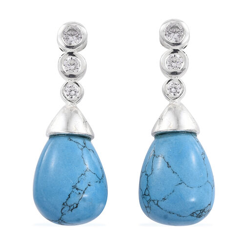 Tuscon Collection-Blue Howlite, Simulated Diamond Earrings (with Push Back) in Sterling Silver 15.000 Ct.