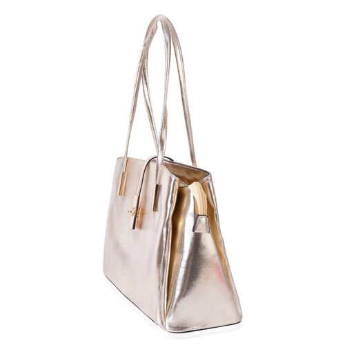 Golden Colour Tote Bag (Size 35.5x23.5x13 Cm)