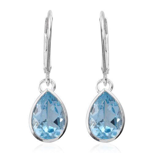 Sky Blue Topaz (Pear) Lever Back Earrings in Sterling Silver 4.500 Ct.