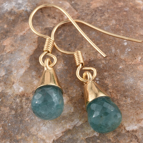 Kagem Zambian Emerald Hook Earrings in 14K Gold Overlay Sterling Silver 5.040 Ct.