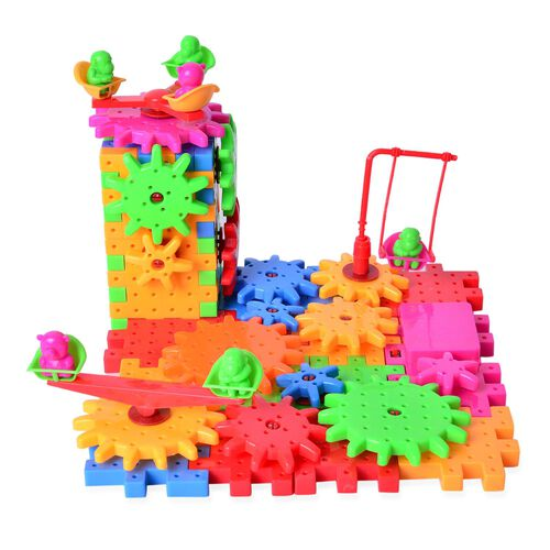 Multi Colour Gear Building Toy Set - Interlocking Learning Blocks - Motorized Spinning Gears - 81 Piece