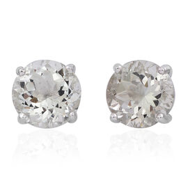 Green Amethyst (Rnd) Stud Earrings (with Push Back) in Sterling Silver 5.000 Ct.