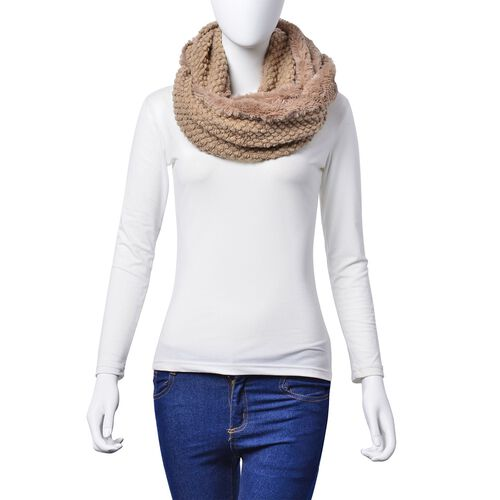 Designer Inspired Double Layered Infinity Beige Scarf (Size 20X80 Cm)